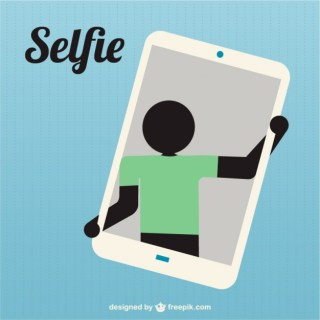Silhouette Taking Selfie Icon Free Vector