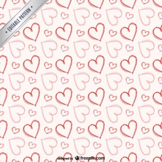 Sketchy Hearts Pattern Free Vector