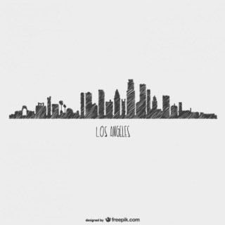 Sketchy Skyline Los Angeles View Free Vector