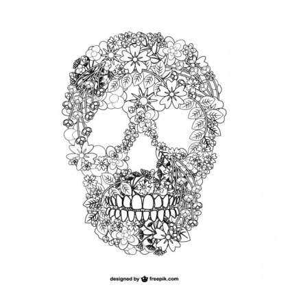 Skull Floal Illustration Free Vector