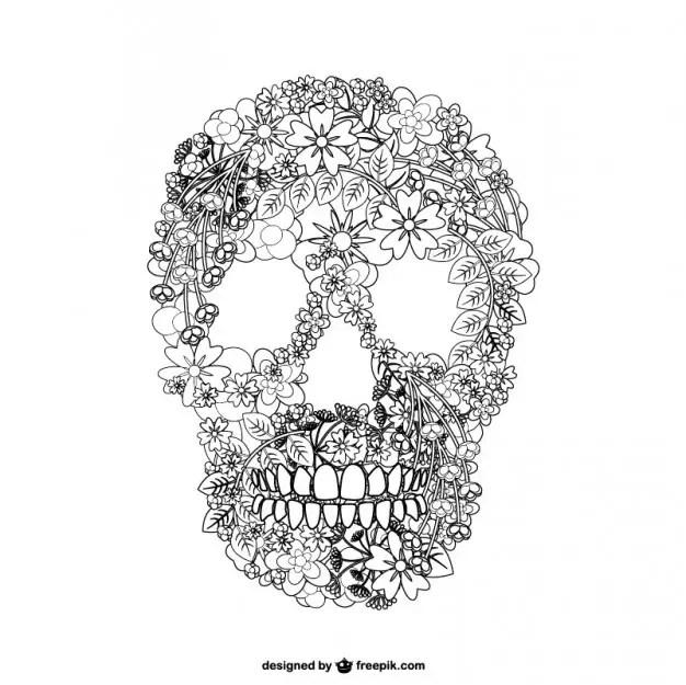 Skull Floal Illustration Free Vector