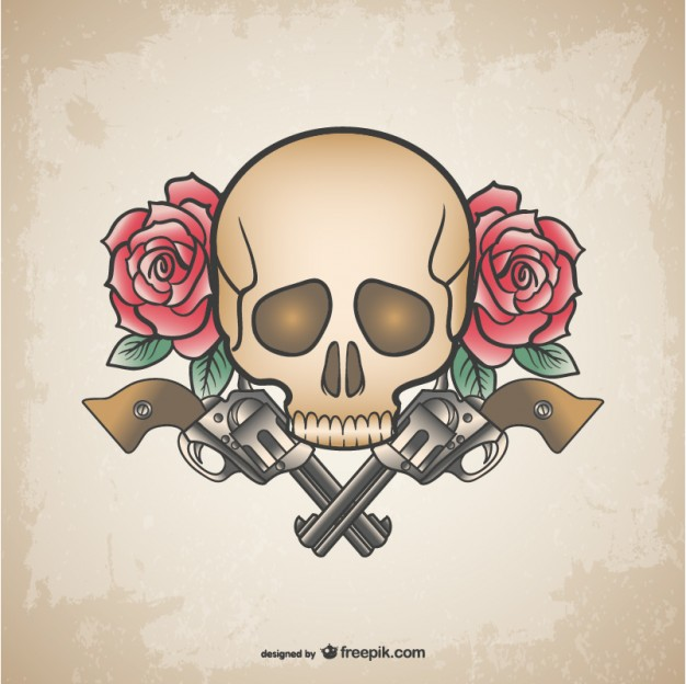 Skull Tattoo Guns and Flowers Design Free Vector