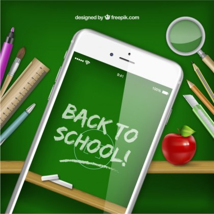 Smartphone with Back to School on Screen Free Vector