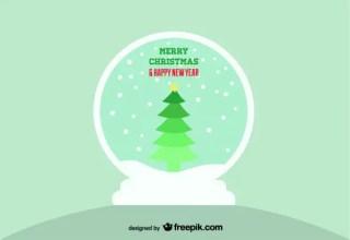 Snow Ball with Christmas Tree Free Vector