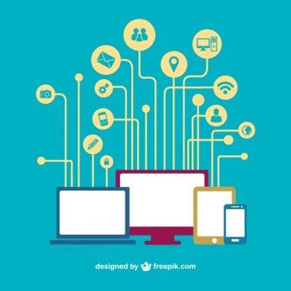Social Media Devices Networking Free Vector