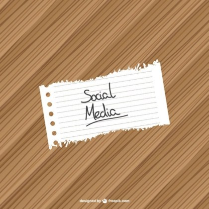 Social Media Note Wood Background Free Vector