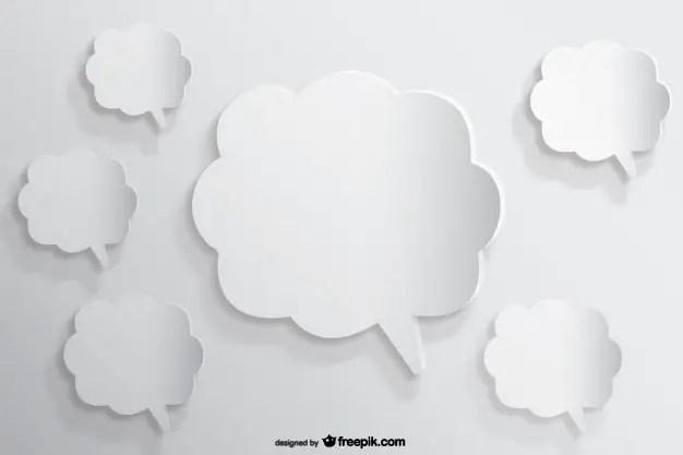 Speech Bubbles Background Paper Cutout Effect Free Vector