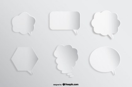 Speech Comic Bubbles Background Paper Cutout Effect Free Vector