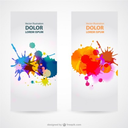 Splash Banner Sets Free Vector