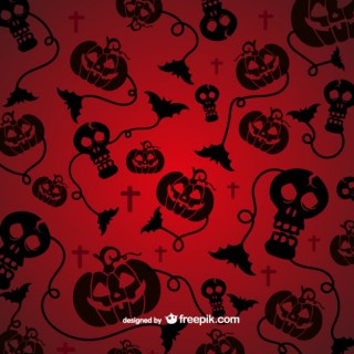 Spooky Pattern for Halloween with Black Silhouettes Free Vector