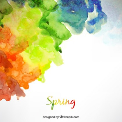Spring Background in Watercolor Style Free Vector