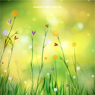 Spring Background with Flowers Free Vector