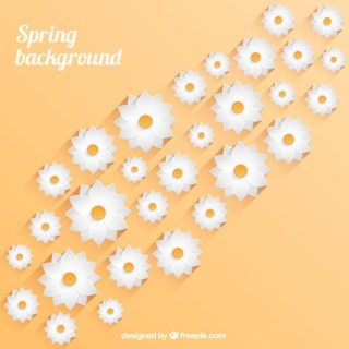 Spring Background with White Flowers Free Vector