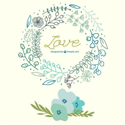 Spring Flowers Hand Drawn Love Card Free Vector