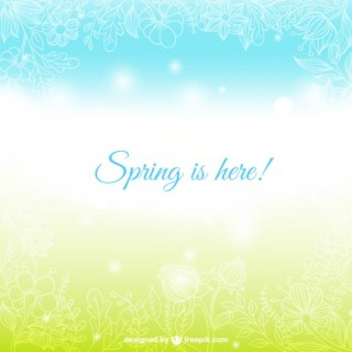 Spring is Here Card Free Vector