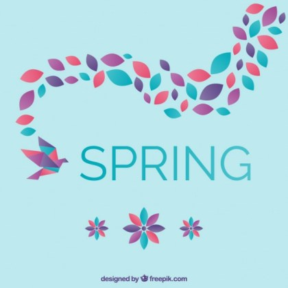 Spring Origami Bird with Flowers Free Vector