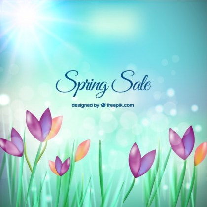 Spring Sale Background with Beautiful Flowers Free Vector
