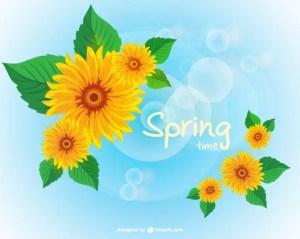 Spring Sunflower Wallpaper Free Vector