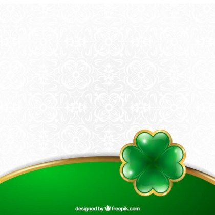 St Patrick Background with A Bright Clover Free Vector