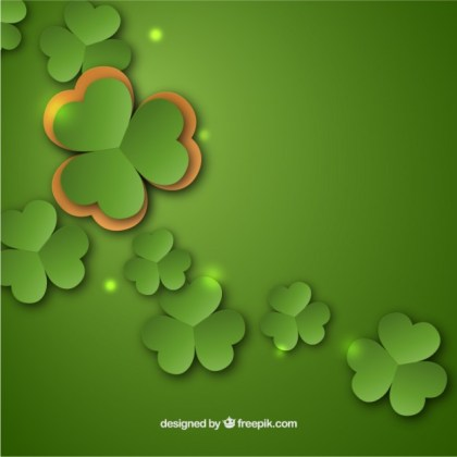 St Patrick Background with Clovers Free Vector