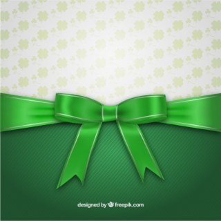 St Patrick Day Card with Ribbon Free Vector
