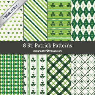 St Patrick Patterns Collection Free Vector