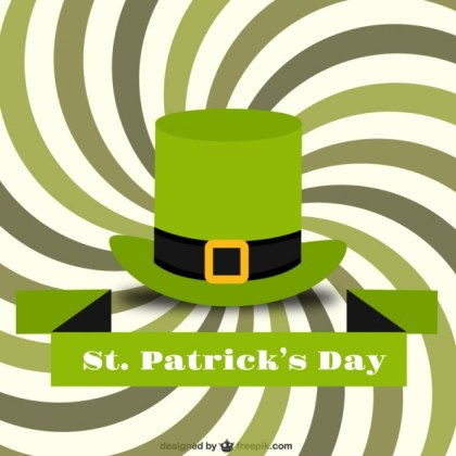 St Patricks Day Card with A Green Hat Free Vector