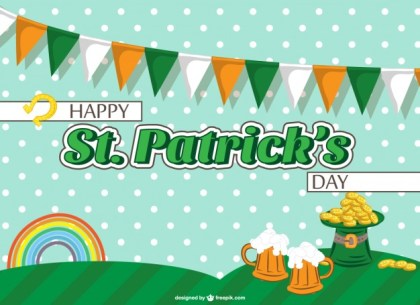 St Patrick's Garlands Free Vector