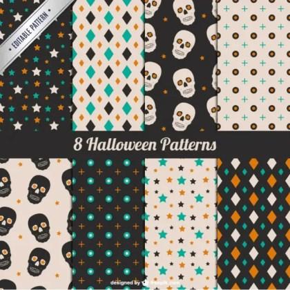 Stars and Skulls Halloween Pattern Set Free Vector
