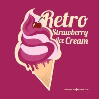 Strawberry Ice Cream Free Vector