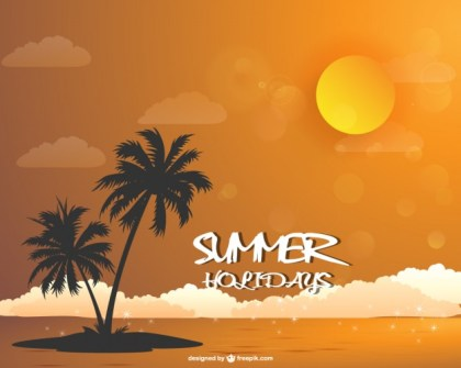 Summer Beach Landscape Wallpaper Download Free Vector