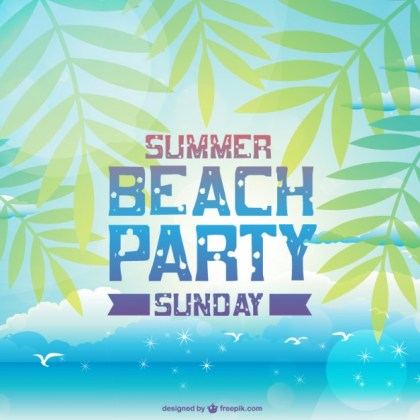 Summer Beach Party Invitation Free Vector