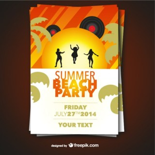 Summer Beach Party Poster Free Vector