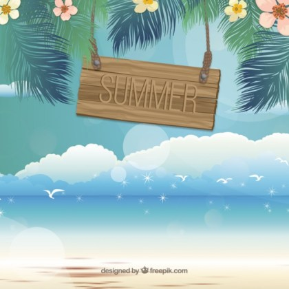 Summer Chalkboard By The Beach Free Vector