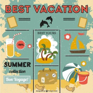 Summer Graphics Collection Free Vector