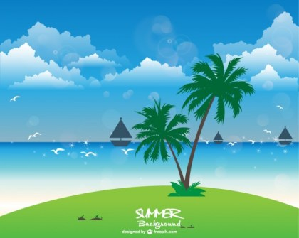Summer Holiday Background Illustration Free Vector