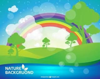 Summer Landscape Background Free Vector