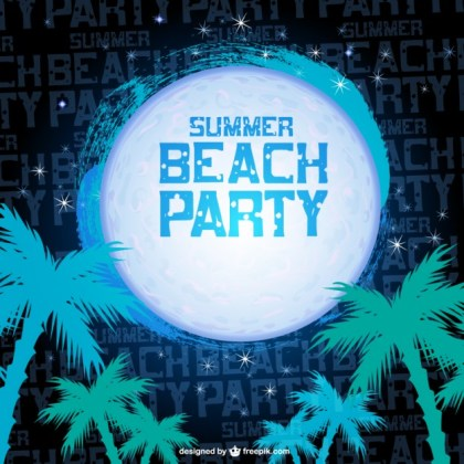Summer Night Beach Party Free Vector