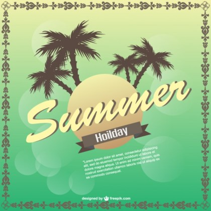 Summer Palm Tree Background Free Vector