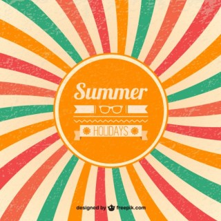 Summer Retro Sunburst Background Free Vector