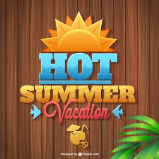 Summer Vacation Logo Wooden Texture Free Vector
