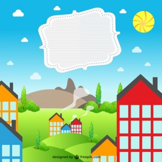 Summer Village Landscape Free Vector