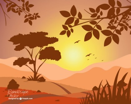 Sunset Landscape View Free Vector
