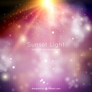 Sunset Light Background with Sparkles Free Vector