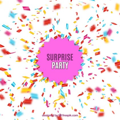 Surprise Party with Confetti Explosion Free Vector