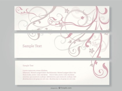 Swirl Floral Banners Free Vector
