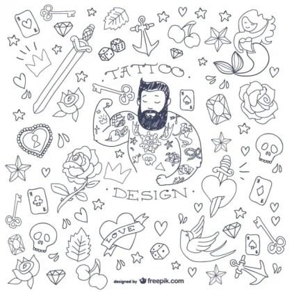 Tattoo Man Doodle Symbols Free Vector