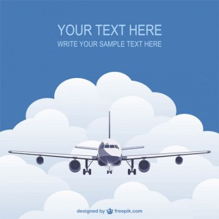 Template with Flying Plane Free Vector