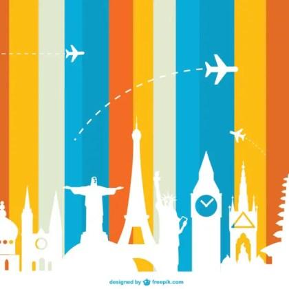 Tourism Concept Landmarks Free Vector