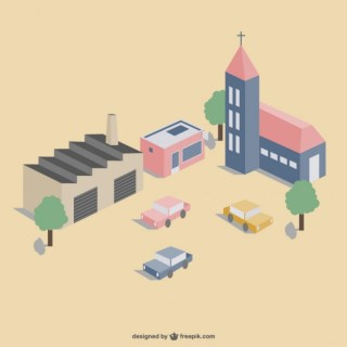 Town 3D View Free Vector